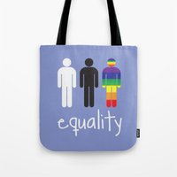equality Tote Bags featuring Equality pride by Tony Vazquez