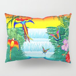 Waterfall Macaws and Butterflies on Exotic Landscape in the Jungle Naif Style Pillow Sham