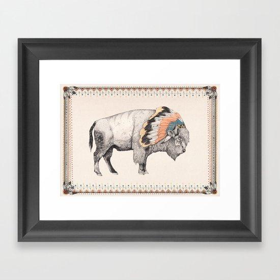 White Bison Framed Art Print