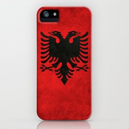 National flag of Albania with Vintage textures iPhone Case