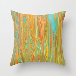 Abstract in Aqua, Orange, and Gold Throw Pillow