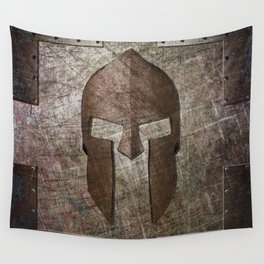 Molon Labe - Spartan Helmet on Riveted steel Wall Tapestry