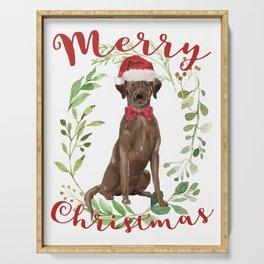 Merry Christmas Chocolate Labrador Serving Tray