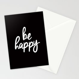 Be Happy Black and White Short Inspirational Quotes Pursuit of Happiness Quote Daily Inspo Stationery Cards