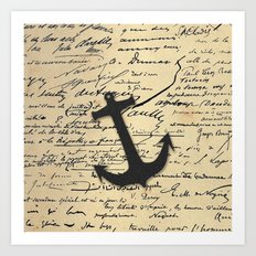 Vintage gray retro nautical anchor marine paper Art Print