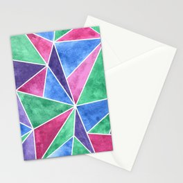 Colorful Mosaic Geometric Triangles Abstract Stationery Cards