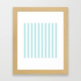 Striped- Turquoise vertikal stripes on white - Maritime Summer Beach Framed Art Print