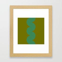 groovy minimalist pattern aqua waves on olive Framed Art Print