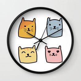 Cute Cat Doodle Set Wall Clock