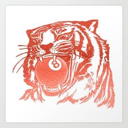 8 Ball Tiger - Red Art Print