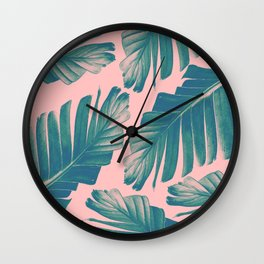Tropical Blush Banana Leaves Dream #2 #decor #art #society6 Wall Clock