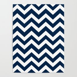 Oxford blue - blue color - Zigzag Chevron Pattern Poster