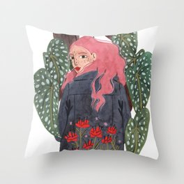 Holding plant Throw Pillow