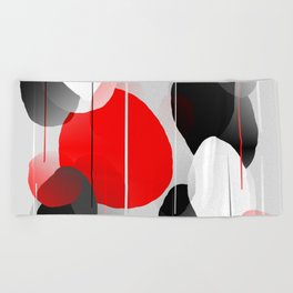 Modern Anxiety Abstract - Red, Black, Gray Beach Towel