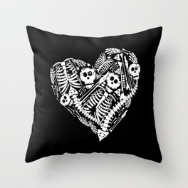 Skeletal Love Heart  (Black) Skulls and Bones Throw Pillow