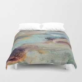 Gentle Beauty [5] - an elegant acrylic piece in deep purple, red, gold, and white Duvet Cover