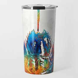Colorful Horseshoe Crab Art by Sharon Cummings Travel Mug