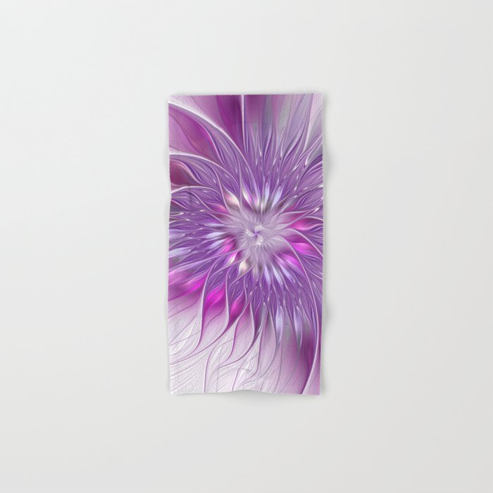 Pink Flower Passion, Abstract Fractal Art Hand & Bath Towel