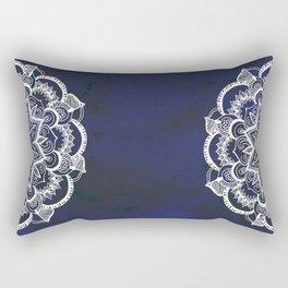 White Feather Mandala on Navy Rectangular Pillow