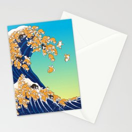 Shiba Inu in Great Wave Stationery Cards