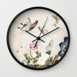 Butterflies and flowers : Minhwa-Korean traditional/folk art Wall Clock