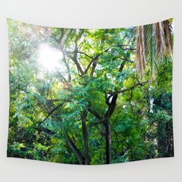 The enchanted woods   Bright tropical forest palm tree exotic green photography Wall Tapestry