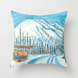 Mt Bachelor Oregon Travel Poster Throw Pillow