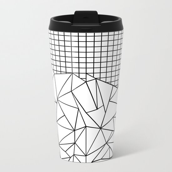 Abstract Grid #2 Black on White Metal Travel Mug