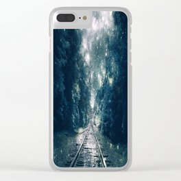 """Dream Train Tracks Teal : """"Next Stop, Anywhere"""" Clear iPhone Case"""