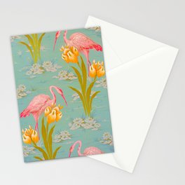 Papier peint - Isidore Leroy - 1905 Flamingo Pond Floral Pastel Pattern Stationery Cards