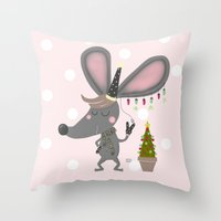 mouse Throw Pillows featuring mouse by Sucoco