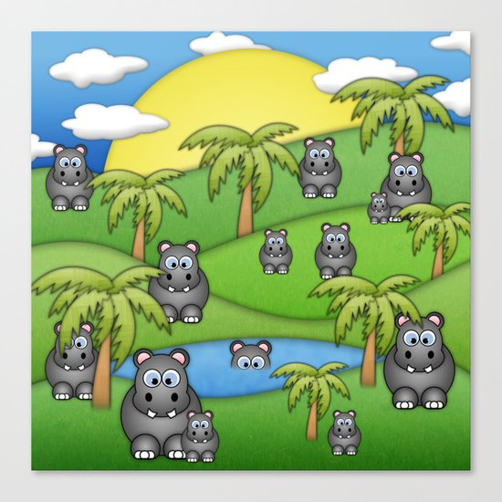 Hippos. Canvas Print