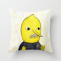 lemongrab Throw Pillows featuring Lemongrab is acceptabbbbbbbble.  by Naomi Hodgson