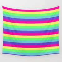 stripes Wall Tapestries featuring Rainbow Stripes by Whimsy Romance & Fun