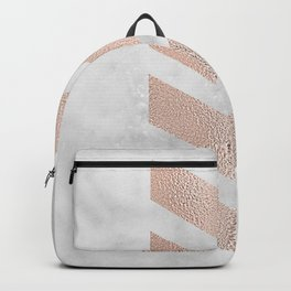 Rose gold chevrons on marble Backpack