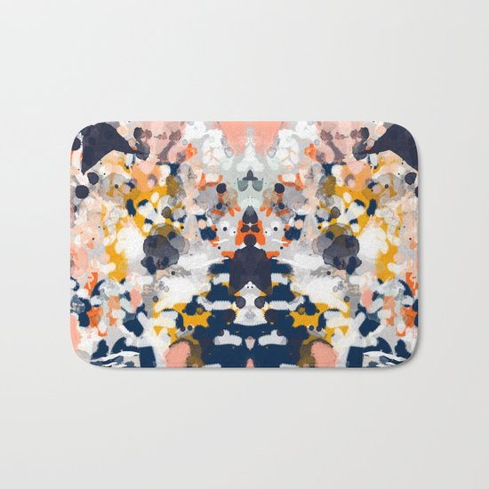 Stella - Abstract painting in modern fresh colors navy, orange, pink, cream, white, and gold Bath Mat