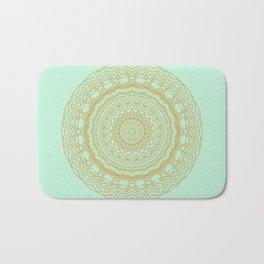 Mandala Lace in Gold and Mint Bath Mat