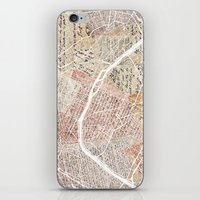 paris map iPhone & iPod Skins featuring Paris map by Mapsland
