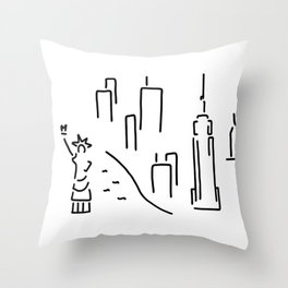 new York the Statue of Liberty skyscraper Throw Pillow