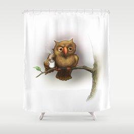 Caffeinated Owl Shower Curtain