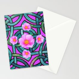 Mystical Wild Pink Celtic Roses Teal Purple Art Stationery Cards