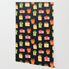 Black Hand Drawn Watercolor Gift Package Pattern Wallpaper