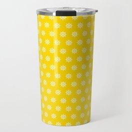 Boat SteeringWheels White on Yellow Travel Mug