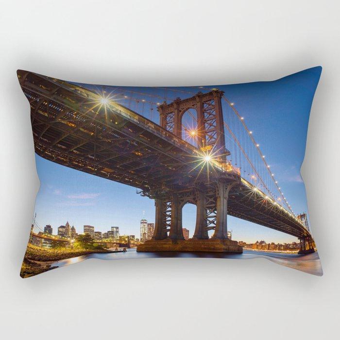 Manhattan Bridge Light night Rectangular Pillow