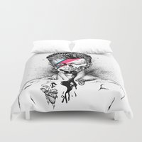 gore Duvet Covers featuring Zombowie by Daryll Peirce