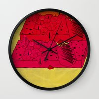 industrial Wall Clocks featuring INDUSTRIAL CHEESE by kasi minami