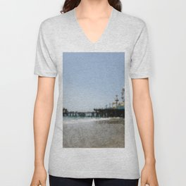 Sketched Santa Monica Pier Color Drawing Unisex V-Neck