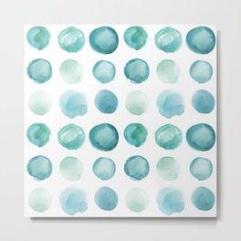 Blue Sea Glass Watercolor JUUL Metal Print