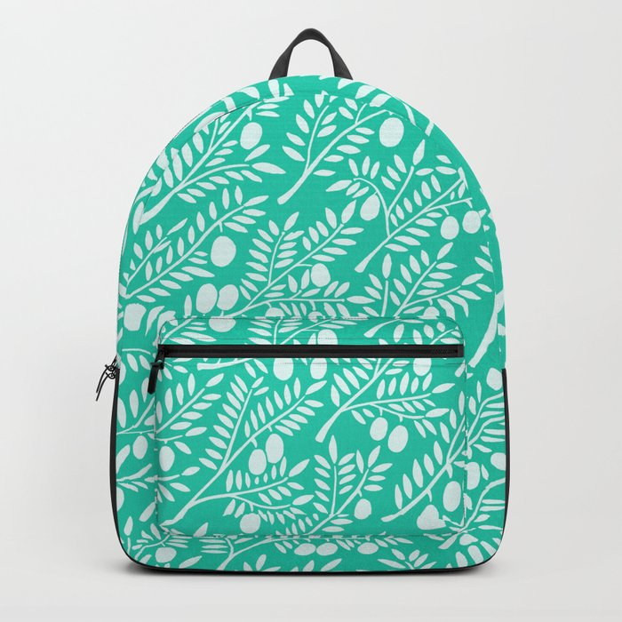 Turquoise Olive Branches Backpack