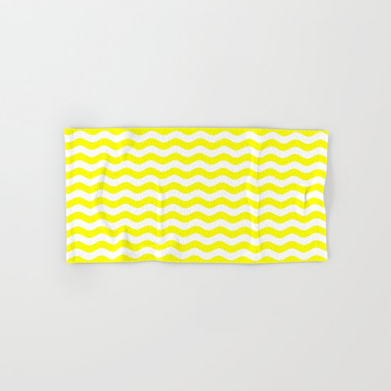 Wavy Stripes (Yellow/White) Hand & Bath Towel